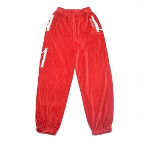 Velour red track pants